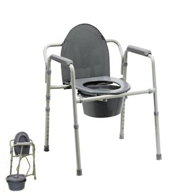 Krzesło toaletowe stalowe, składane, szare